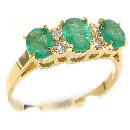 9ct Yellow Gold Ladies Emerald & Diamond Trilogy Eternity Ring