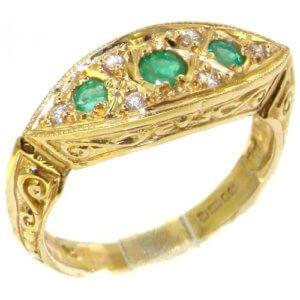 9ct Gold Emerald & Diamond Boat Ring