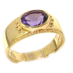 9ct Yellow Gold Amethyst Solitaire Band Ring