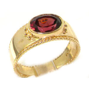 9ct Yellow Gold Garnet Solitaire Band Ring