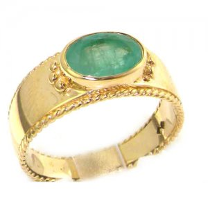 9ct Yellow Gold Emerald Solitaire Band Ring