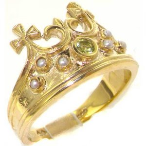 Unusual Solid Yellow Gold Natural Peridot & Seed Pearl Victorian Style Monarchy Crown Ring