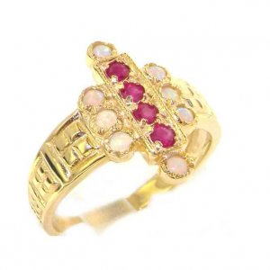 Luxury 9ct Yellow Gold Ladies Large Ruby & Opal Aztec Style Ring