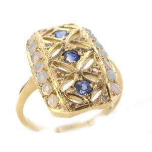 9ct Yellow Gold Sapphire Opal & Diamond Ring