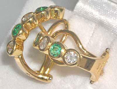 18ct Gold Emerald & Diamond Earrings