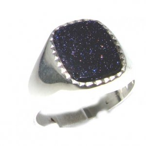 Luxury Sterling Silver Mens Blue Goldstone Signet Ring