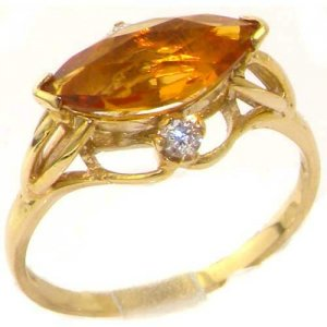 Luxury Solid Yellow Gold Large Marquise Citrine & Diamond Ring