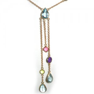 9ct Gold Topaz Tourmaline Peridot & Amethyst Necklace