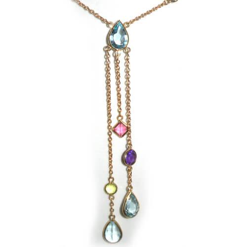 9ct Gold Topaz Tourmaline Peridot & Amethyst Necklace