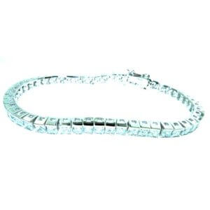 "Luxury Sterling 925 Silver Large Modern Designer Princess Cut Stone Set 7.5"" inch Tennis Bracelet for Women / Ladies"