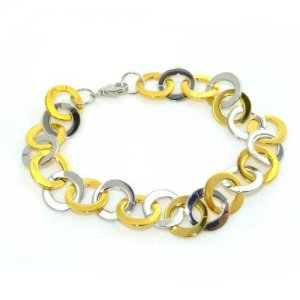 "High Quality Ladies Multicoloured Solid Sterling Silver and Gold Plated 7"" Bracelet"