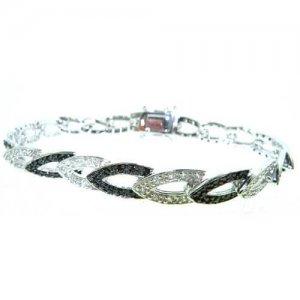 "Luxury Sterling 925 Silver Modern Designer Black & White Stone Set 7"" Inch Bracelet"