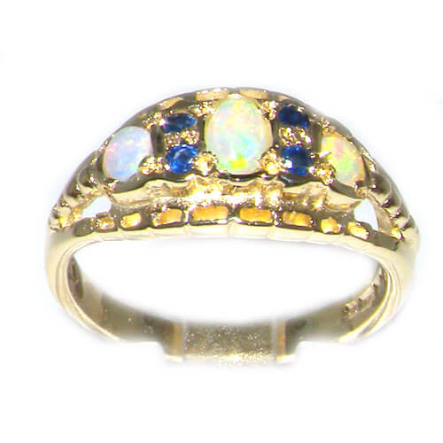 9ct Yellow Gold Colourful Fiery Opal & Sapphire Ring