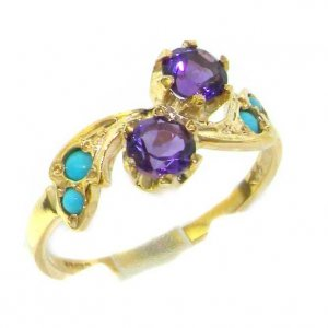9ct Yellow Gold Ladies Amethyst & Turquoise English Made Victorian Style Ring