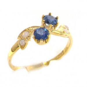 9ct Yellow Gold Ladies Sapphire & Opal English Made Victorian Style Ring