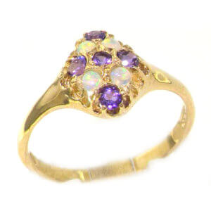 Luxury 9ct Yellow Gold Amethyst & Opal English Cluster Ring