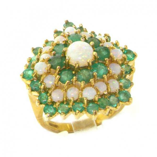 Magnificent 9ct Gold Fiery Opal & Emerald Cluster Ring