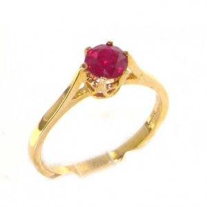 Luxury 9ct Yellow Gold Ladies English Made Ruby Solitaire 0.75ct Engagement Ring