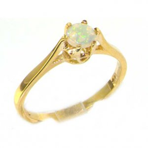 Luxury 9ct Yellow Gold Ladies English Made Opal Solitaire 0.50ct 1/2ct Engagement Ring