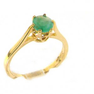Luxury 9ct Yellow Gold Ladies English Made Emerald Solitaire 0.75ct 3/4ct Engagement Ring