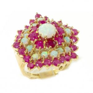 9ct Gold Opal & Ruby Wave Ring