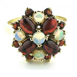 9ct Gold Fiery Opal/Cabouchon Garnet Cluster RingFree P&P