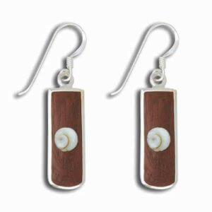 Luxury Modern Designer Sterling Silver Drop Earrings inserted with Wood & Shell