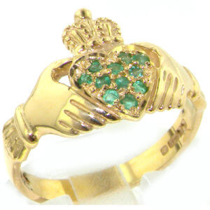 9ct Yellow Gold Luxury Vibrant Emerald Heart Claddagh Ring