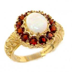 9ct Gold Large Fiery Opal & Garnet Cluster Ring