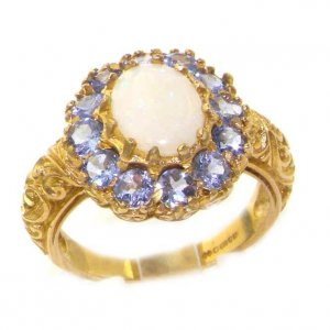 9ct Gold Opal & Tanzanite Cluster Ring