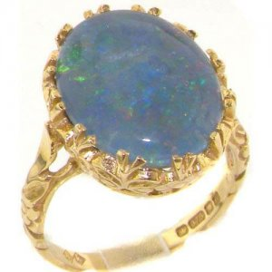 Luxury Solid Yellow Gold Victorian Style Flowers and Butterflies Large Opal Solitaire Ring