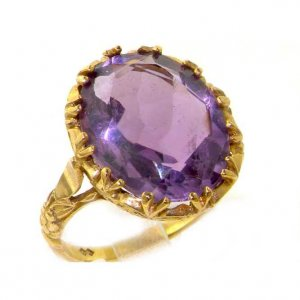 Large 9ct Gold 16x12 Amethyst Ring