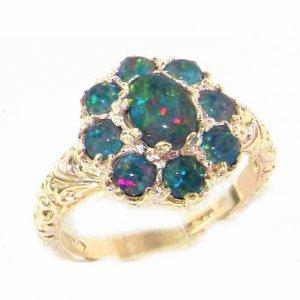 Solid 9ct Gold Womens Large Opal Triplet Art Nouveau  Ring