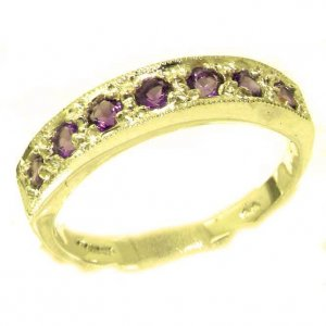 Solid 9ct Gold Ladies Natural Amethyst Eternity Band Ring