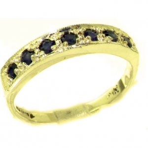 Solid 9ct Gold Ladies Natural Sapphire Eternity Band Ring