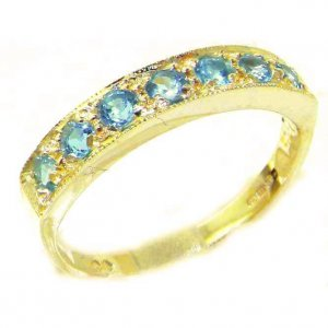 Solid 9ct Gold Ladies Natural Blue Topaz Eternity Band Ring - Finger Sizes K to Y Available