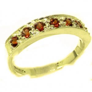 Solid 9ct Gold Ladies Natural Garnet Eternity Band Ring - Finger Sizes K to Y Available