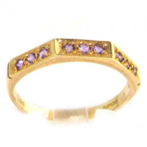 Solid English 9ct Yellow Gold Ladies Natural Amethyst Eternity Band Ring