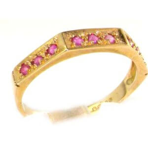Solid English 9ct Yellow Gold Ladies Natural Ruby Eternity Band Ring