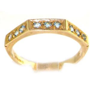 Solid English 9ct Yellow Gold Ladies Natural Blue Topaz Eternity Band Ring