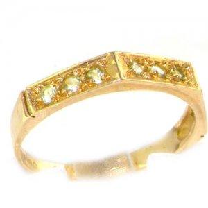 Solid English 9ct Yellow Gold Ladies Natural Peridot Eternity Band Ring