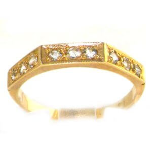 Solid English 9ct Yellow Gold Ladies Natural Aquamarine Eternity Band Ring