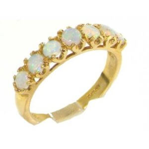 Solid 9ct Gold Women Fiery Opal Vintage Style Eternity Band Ring