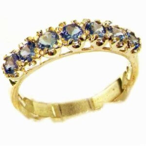 Solid 9ct Gold Womens Tanzanite Vintage Style Eternity Band Ring