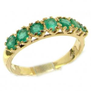 9ct Yellow Gold Emerald Seven Stone Eternity Ring