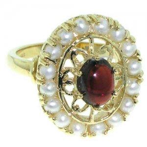 9ct Gold Ladies Garnet & Seed Pearl RingFree P&P