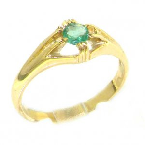 Luxury 9ct Yellow Gold Ladies Solitaire Vibrant Emerald Ring