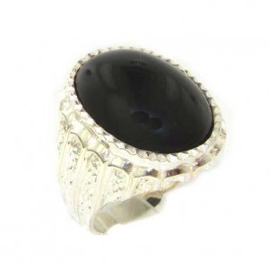 Luxury Sterling Silver Large Mens Oval Cut Cabouchon Onyx Signet Ring