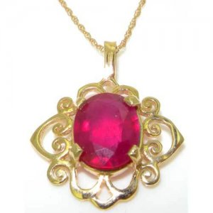 Luxury Womens Solid Yellow Gold Ornate 10x8mm Natural Ruby Pendant Necklace