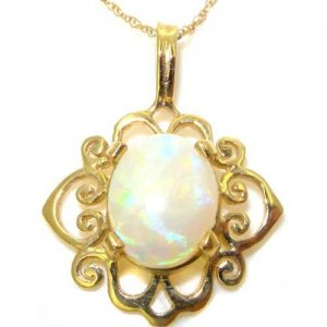 Luxury Womens Solid Yellow Gold Ornate 10x8mm Natural Opal Pendant Necklace